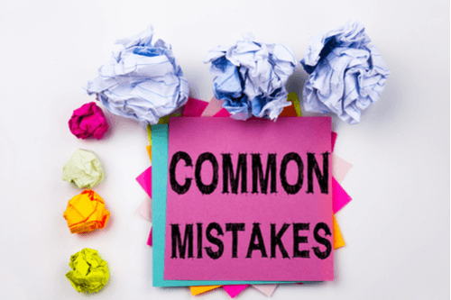 common mistakes sticky notes and crumbled paper