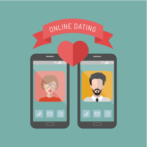 Two phones with heart between for online dating